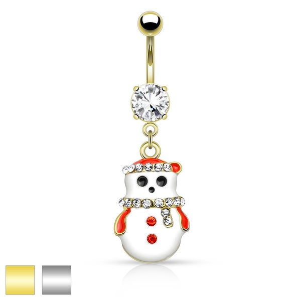 """Snowman with Multi Colored Gems Dangle Belly Button Navel Ring - 14GA - 3/8"""" Long"""