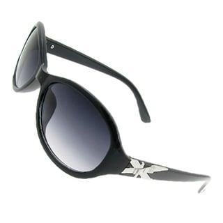 Women Black Plastic Full Frame Silver Tone Cross Detail Arms Sunglasses