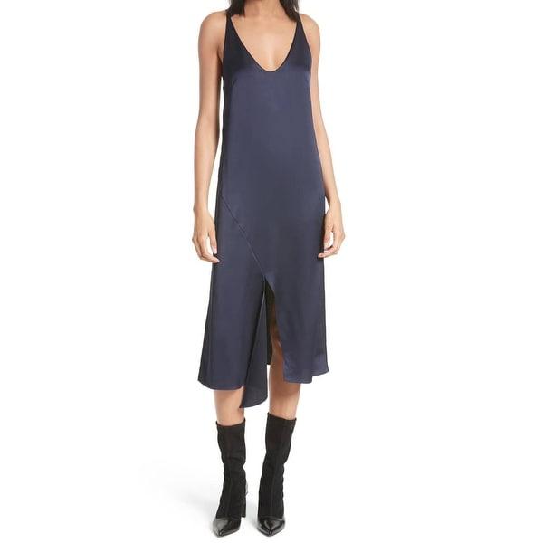 59d580839d6ca Shop Tibi Women's V-Neck Front-Slit Solid Slip Dress Silk - Free ...