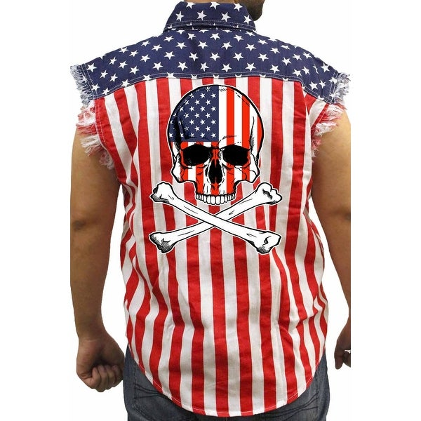 Men's Biker USA Flag Sleeveless Denim Shirt Skull W/ Crossed Bones Stars/Stripes