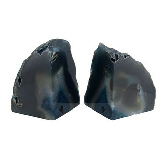Polished Blue Brazilian Agate Geode Bookends 4-7 Pounds