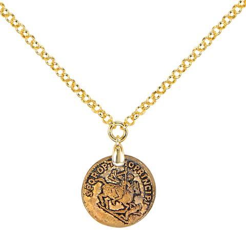 "Bronzoro 18 k Gold Overlay Single Coin Pendsnt On 18"" Chain"