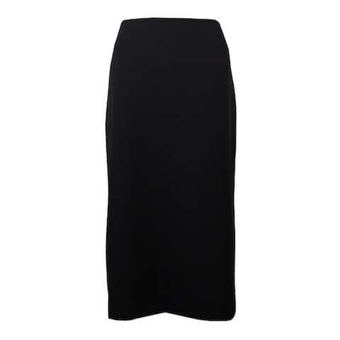 Tahari Women's Solid Back Vent Below Knee Pencil Skirt - Black - 2