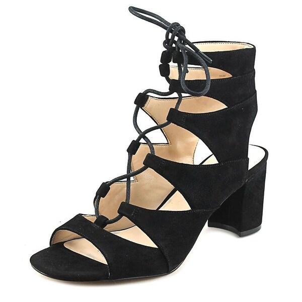 Nine West Take It Up Women Open Toe Suede Black Sandals