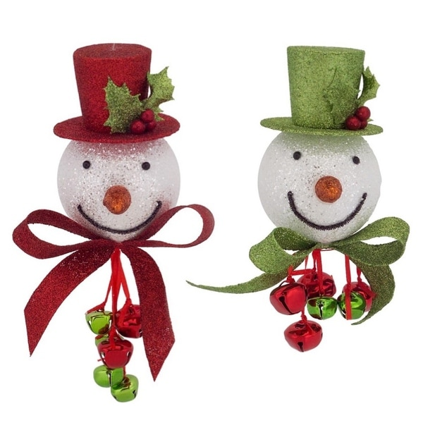 """Club Pack of 12 Red and Green Snowman Head Ornaments with Bells 8"""""""