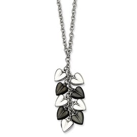 Chisel Stainless Steel Polished & Black Plated Hearts 22 Inch Necklace (2 mm) - 22 in
