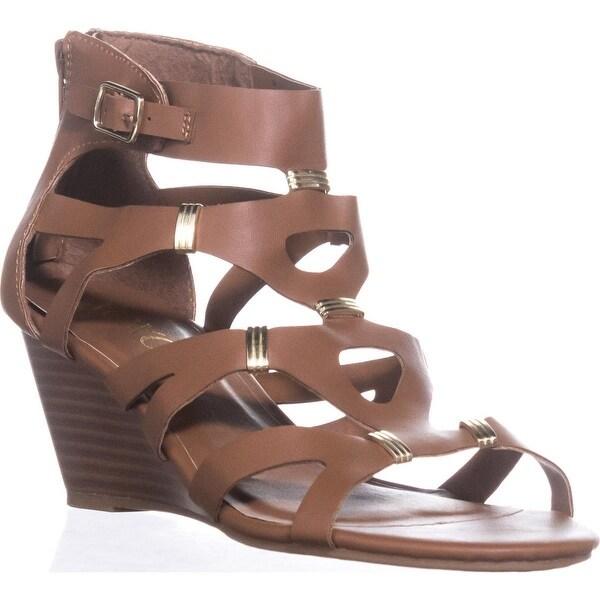 XOXO Sarabeth Gladiator Wedge Sandals, Tan