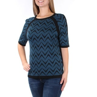 Womens Blue Short Sleeve Jewel Neck Casual Sweater Size M