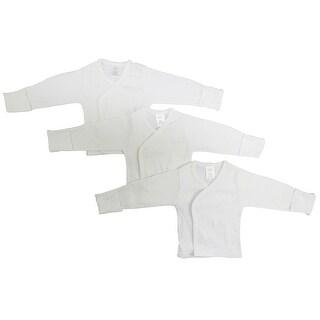 Bambini White Rib Knit White Long Sleeve Side-Snap Shirt 3-Pack