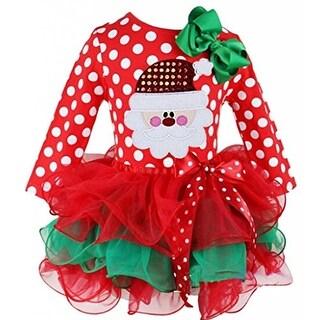 Eyekepper Little Girls' Christmas Polka Dot Bow Tulle Splice Princess Tutu Dress