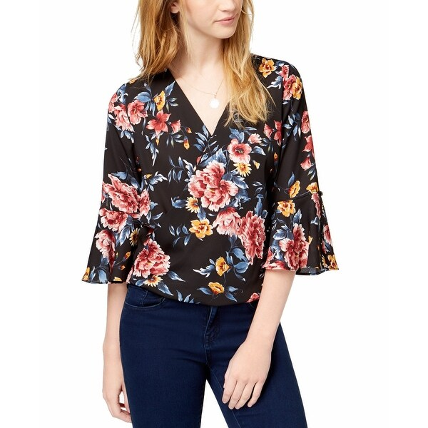 BCX Black Multi Womens Size Large L Floral Bell Sleeve Blouse