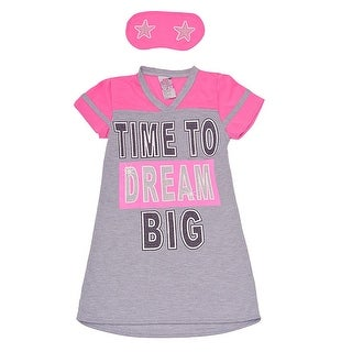 "Sweet n Sassy Girls Gray ""Time To Dream Big"" Sleep Mask Nightgown 8-14"