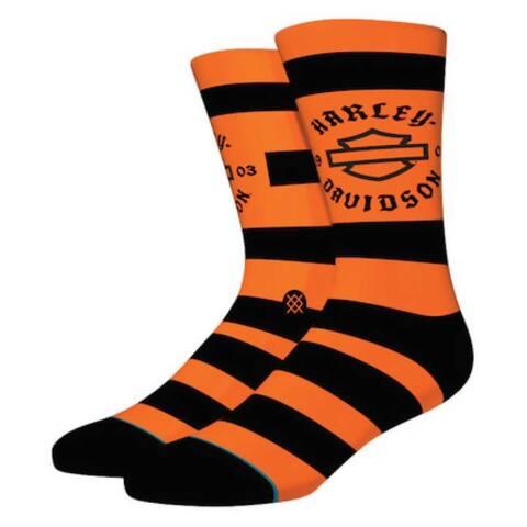 Harley-Davidson Stance Sprint Striped Crew Height Cotton Riding Socks - Orange