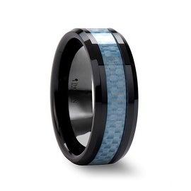 ATTICUS Beveled Blue Carbon Fiber Inlaid Black Ceramic Ring