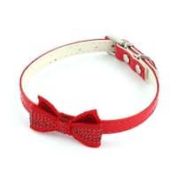 Dog Faux Leather Bowknot Pendant Sequin Decor Adjustable Neck Belt Collar Strap