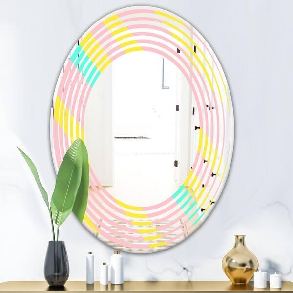 Designart Memphis Retro Neon Pattern Modern Round Or Oval Wall Mirror Wave On Sale Overstock 29870861