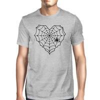 Heart Spider Web Tee Shirt Halloween Mens Dark Gray Graphic T-Shirt
