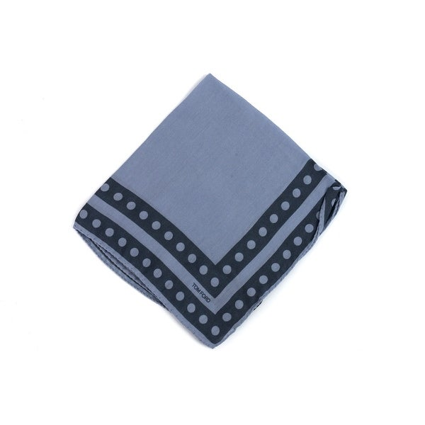 Tom Ford Cerulean Blue Circle Double Border Pocket Square