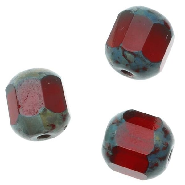 Czech Glass Cathedral Window Beads 8mm Siam Ruby (12)