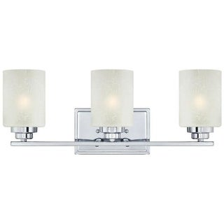 Westinghouse 63438B Hansen Bathroom Vanity Light with 3 Lights with White Linen Glass