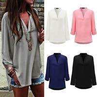 Women's Casual Long-Sleeve V-Neck Loose Blouse Top with Plus Size