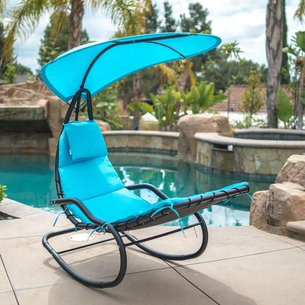 BELLEZE Hanging Rocking Lounge Chair Sun Shade Chaise Chair Powder Coated  Arc Frame Padded Cushion Patio