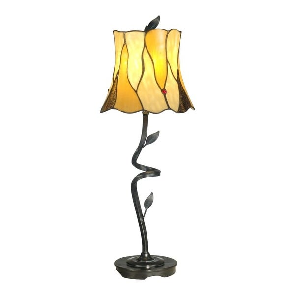 "Dale Tiffany TB11030 Twisted Leaf Single Light 26"" Tall Buffet Style Table Lamp with Tiffany Glass Shade - n/a"