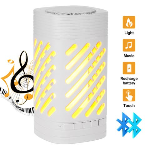 AGPtek Outdoor Smart Speaker, Flame effect Lamp MP3 Smart Music Player w/ LED Smart Touch for Travel and Home Party, White - S