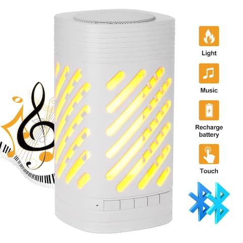 Camping Lamp Bluetooth Speaker W/ LED Smart Touch & Night Lights & Flame effect & USB Rechargeable, White