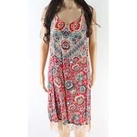 Angie Pink Women's Size Medium M Floral Print Lace Hem Shift Dress