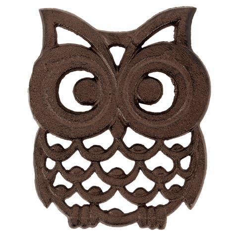 Big Eyed Owl Shaped Hot Plate Trivet Kitchen Decor Cast Iron 6 Inches
