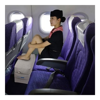 Inflatable Travel Footrest, Leg Rest Travel Pillow - Kids' Bed to Lay Down Flat on Flights Grey Color