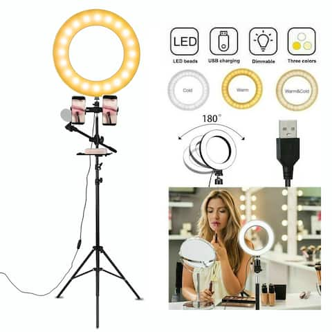 "6.3"" Selfie Ring Light with Tripod Stand & Double Cell Phone Holder & Mic Stand & Multi-function Plate"