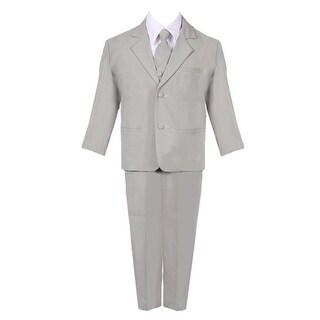 Boys Silver 5 Piece Classic Vest Jacket Pants Special Occasion Suit (More options available)