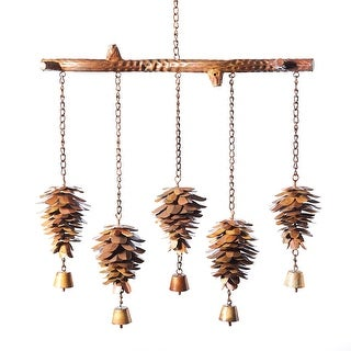 Ancient Graffiti Pinecones Chime - Steel Wind Catchers with Bells for Yard, Deck or Patio - 16 in. x 27 in.