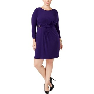 Calvin Klein Womens Plus Cocktail Dress Faux-Wrap Buckle