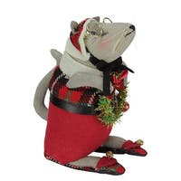 """8.25"""" Gathered Traditions Grandpa Mouse Holding a Wreath Decorative Christmas Figurine"""