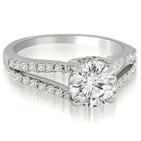 1.07 cttw. 14K White Gold Cathedral Split Shank Round Diamond Engagement Ring
