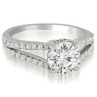 1.32 cttw. 14K White Gold Cathedral Split Shank Round Diamond Engagement Ring HI, SI1-2