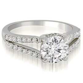 1.32 cttw. 14K White Gold Cathedral Split Shank Round Diamond Engagement Ring