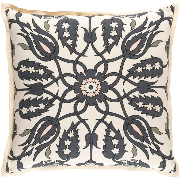 """18"""" Steel Gray, Pale Peach, Sage Green and Ivory Woven Decorative Throw Pillow"""