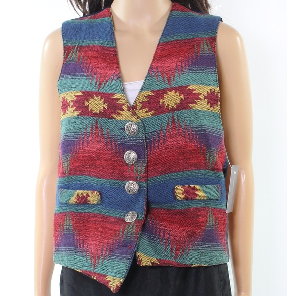 Designer NEW Blue Red Green Women's Size Small S Vest Printed Jacket
