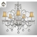 Swarovski Crystal Trimmed Crystal Chandelier Lighting With White Shades & Crystal Balls - Thumbnail 0