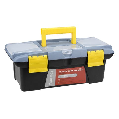 13-inch Tool Box with Tray and Organizers Includes Three Small Parts Boxes