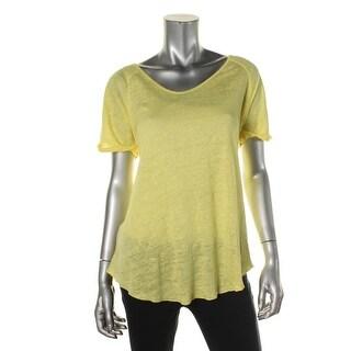 Zara W&B Collection Womens Linen Short Sleeve Casual Top - L