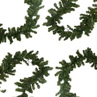 "9' x 10"" B/O Pre-Lit LED Canadian Pine Artificial Christmas Garland - Clear Lights - green"
