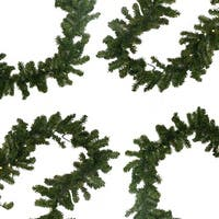 "9' x 10"" Pre-Lit Battery Operated Pine Christmas Garland - Warm Clear LED Lights - green"