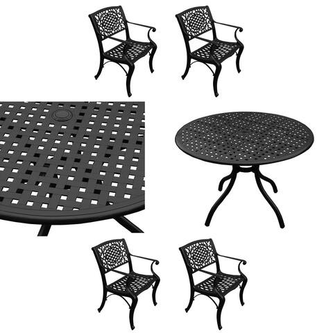 Modern Ornate Outdoor Mesh Aluminum 42-in Round Patio Dining Set with Four Chairs