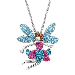 Crystaluxe Fairy Pendant with Swarovski Crystals in Sterling Silver - Multi-Color