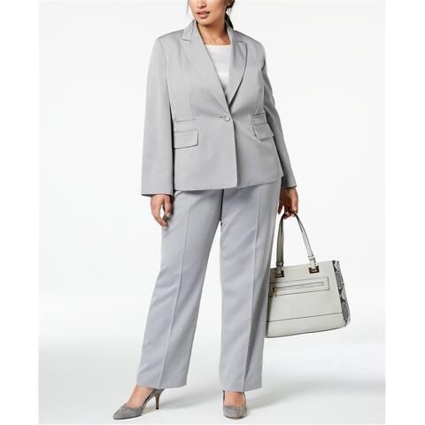 Le Suit Womens Stripe One Button Blazer Jacket